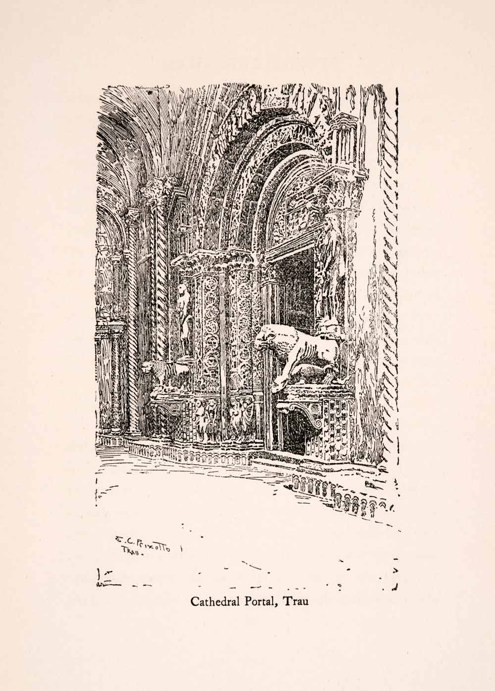1907 Wood Engraving Ernest Peixotto Cathedral Portal Trau Trogir St XGIA5