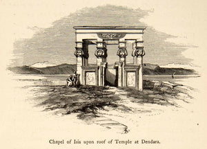 1864 Wood Engraving Dendera Dendara Temple Complex Ancient Egypt Isis XGIB9