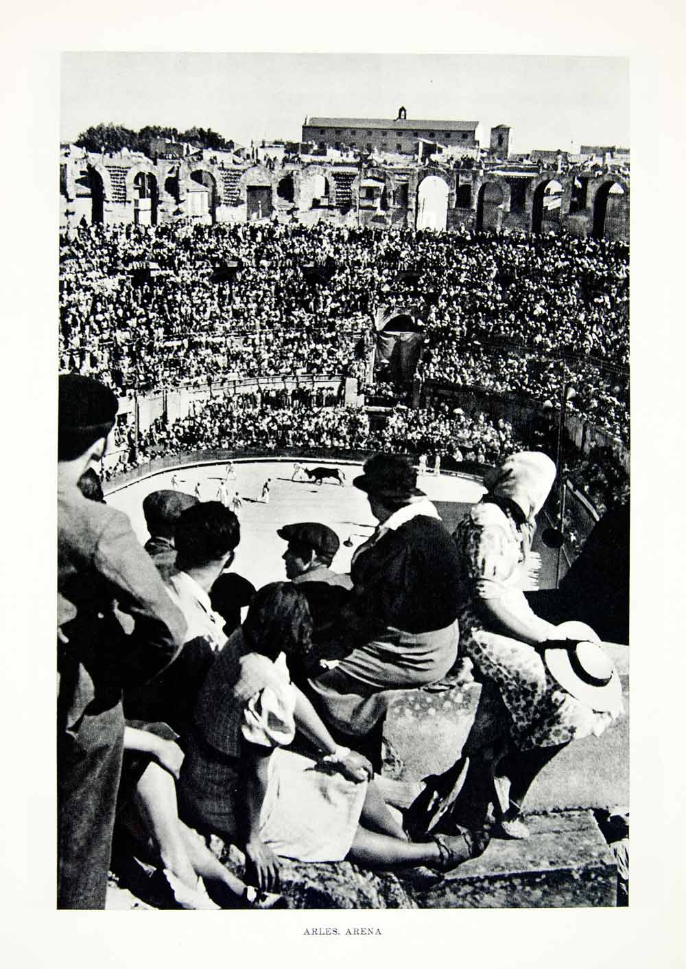 1952 Rotogravure Arles Arena France Roman Amphitheater Bullfighting Crowd XGIC3