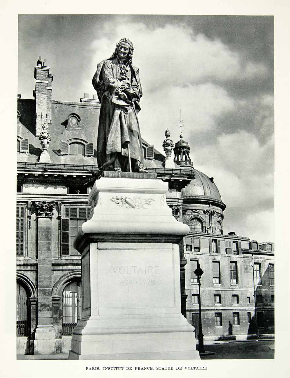 1952 Rotogravure Statue Voltaire Paris France Institute Urban Architecture XGIC3