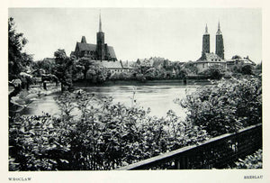 1952 Rotogravure Breslau Wroclaw River Oder Poland Lower Silesia Cathedral XGIC3