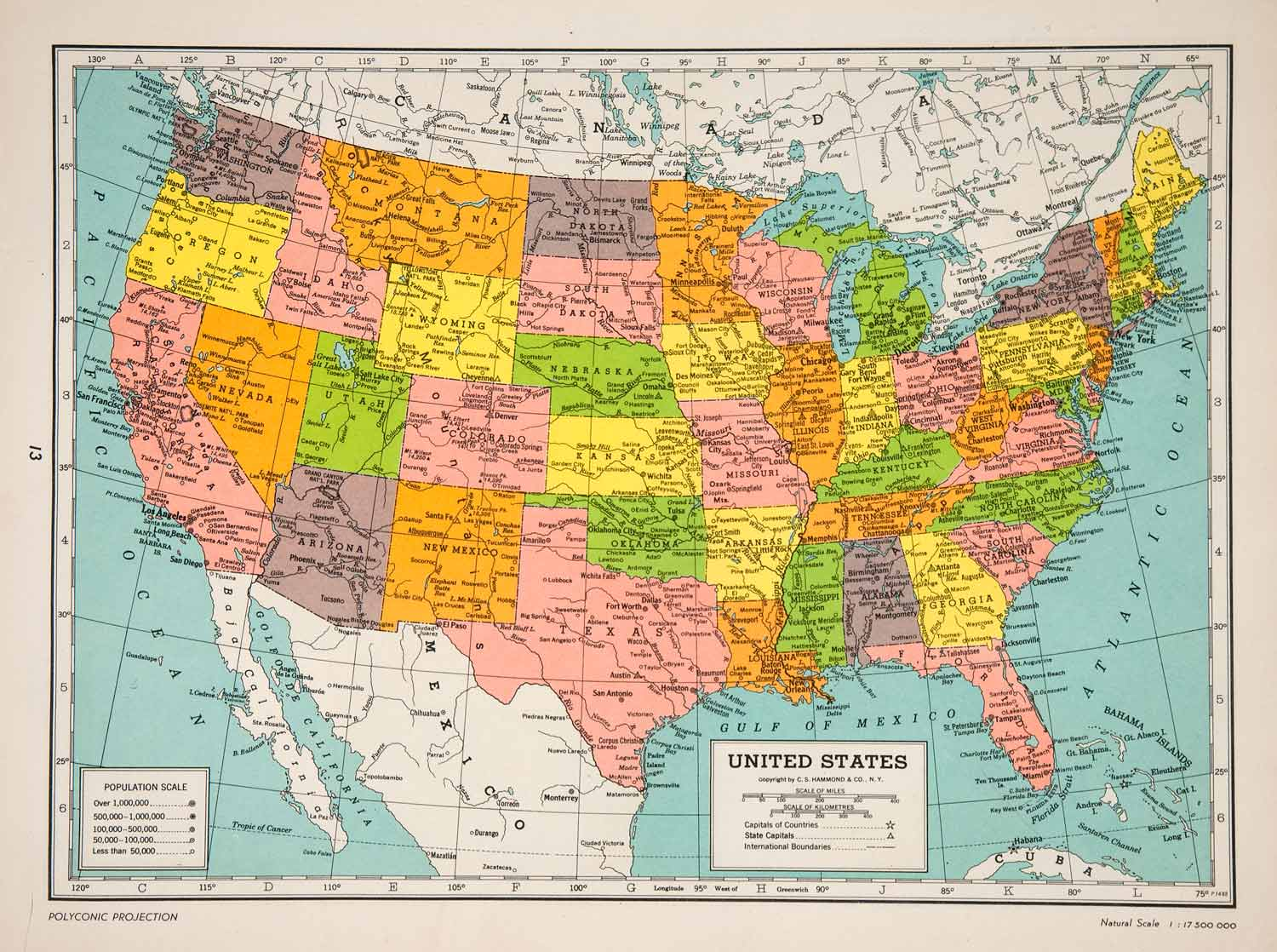 1947 Lithograph Map United States America Polyconic Projection Atlantic  XGIC7