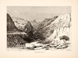 1893 Wood Engraving (Photoxylograph) Egueri Gorge Africa Mountains Camel XGIC8