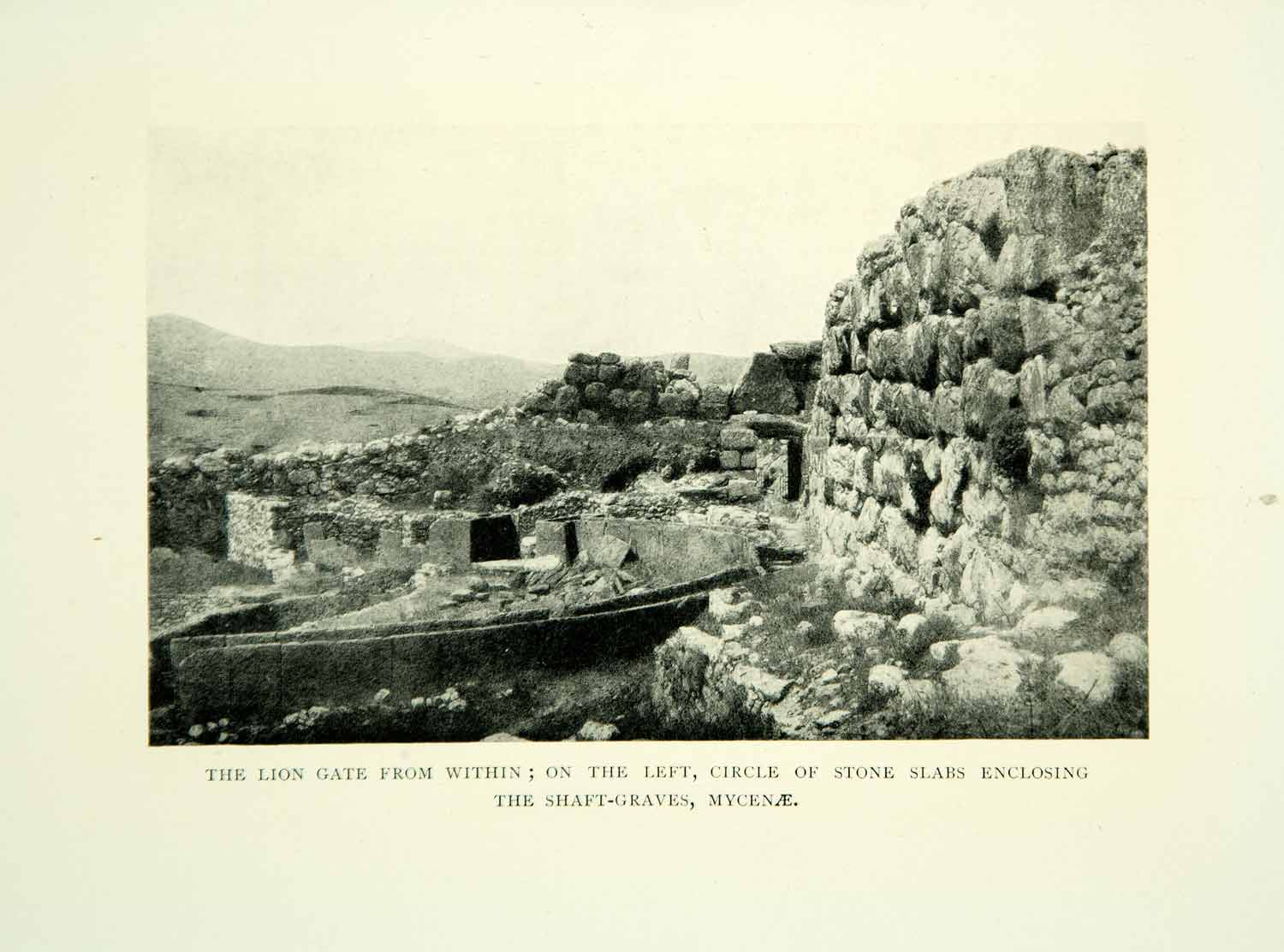 1909 Print Lion Gate Fortress Mycenae Greece Archaeology Bronze Age XGID3
