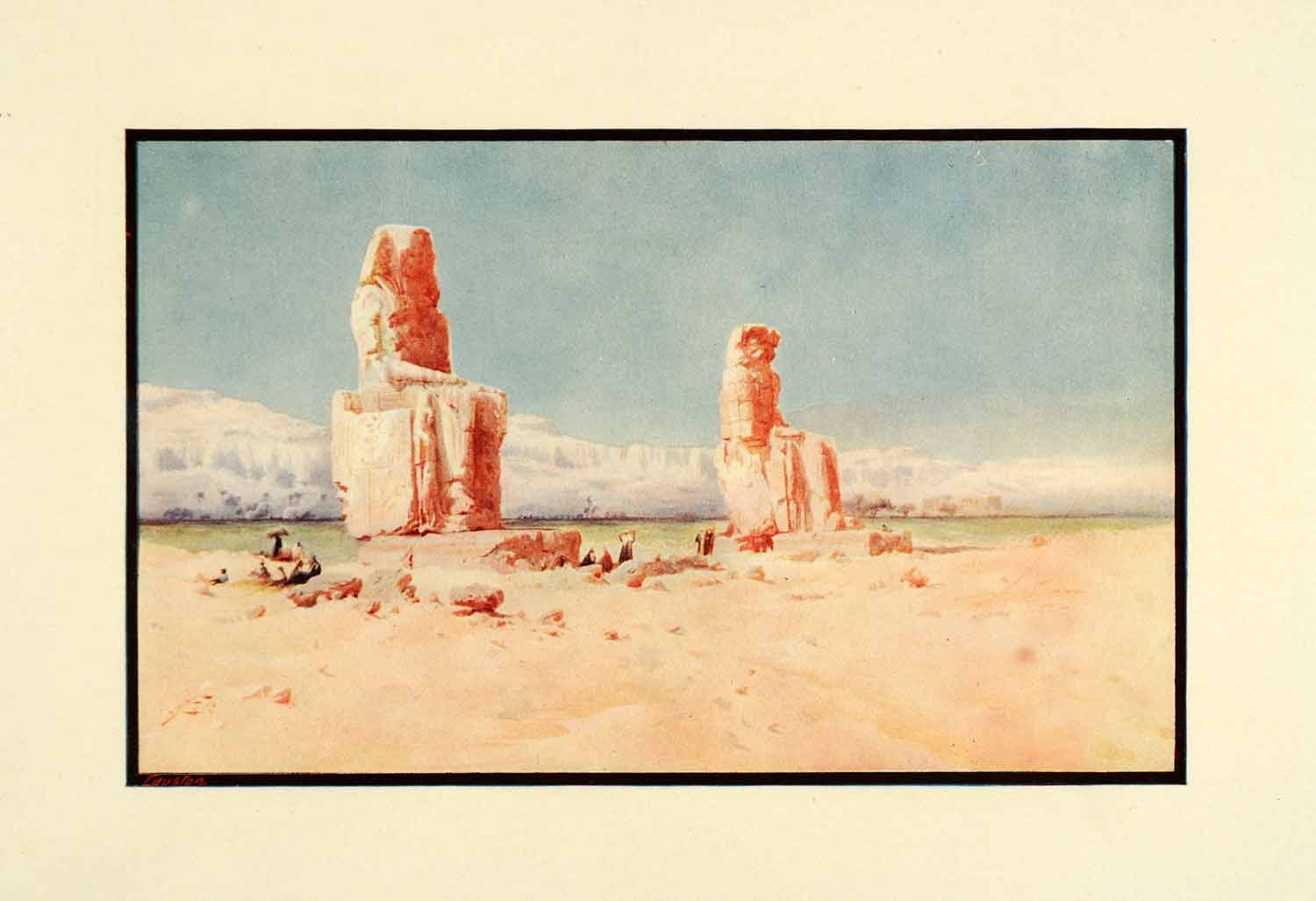 1910 Print Colossi Memnon Ancient Egyptian Pharaoh Sculptures Lamplough Art XGJ4