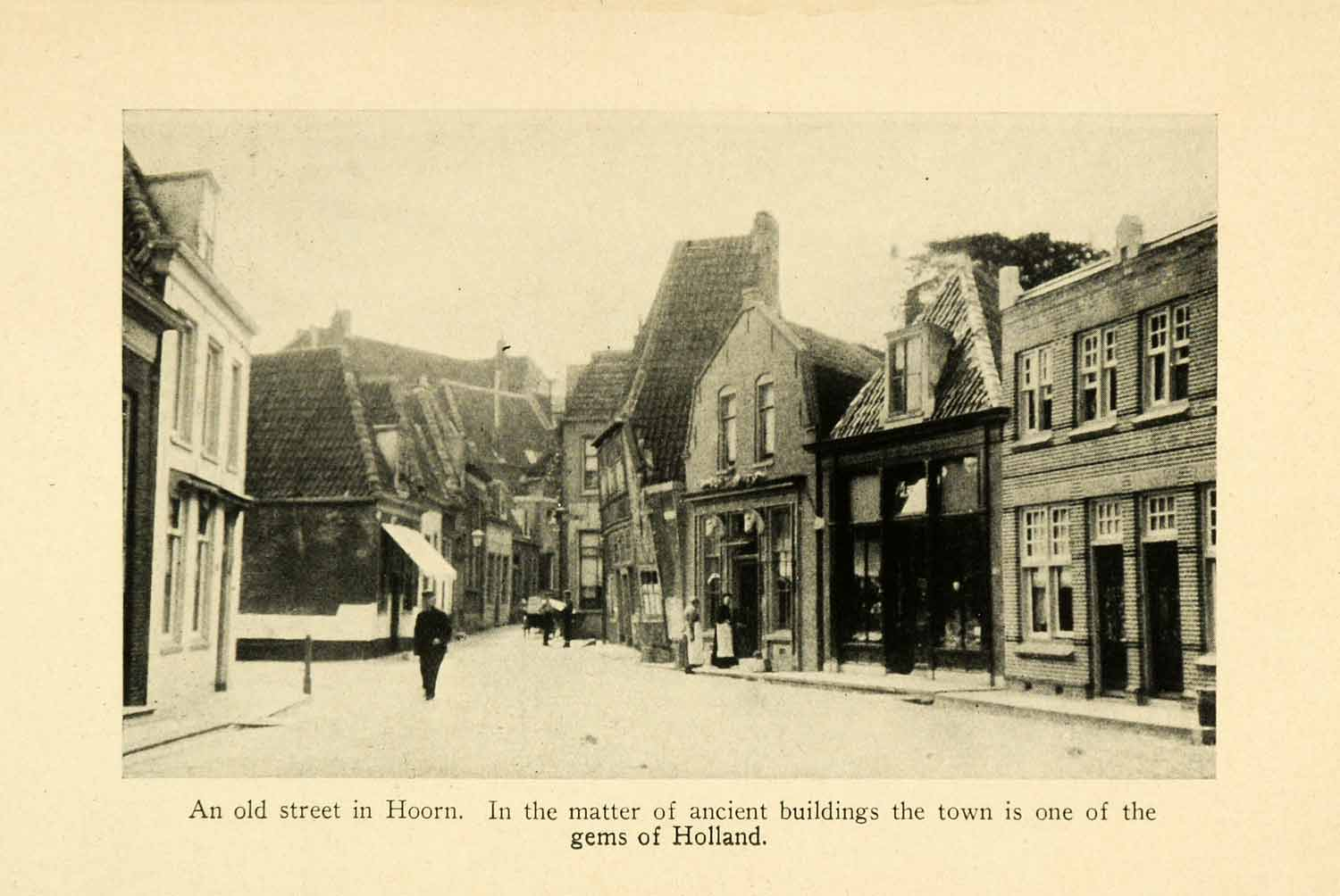 1928 Print Hoorn Holland Cityscape Streetscape Ancient Architecture XGJ6