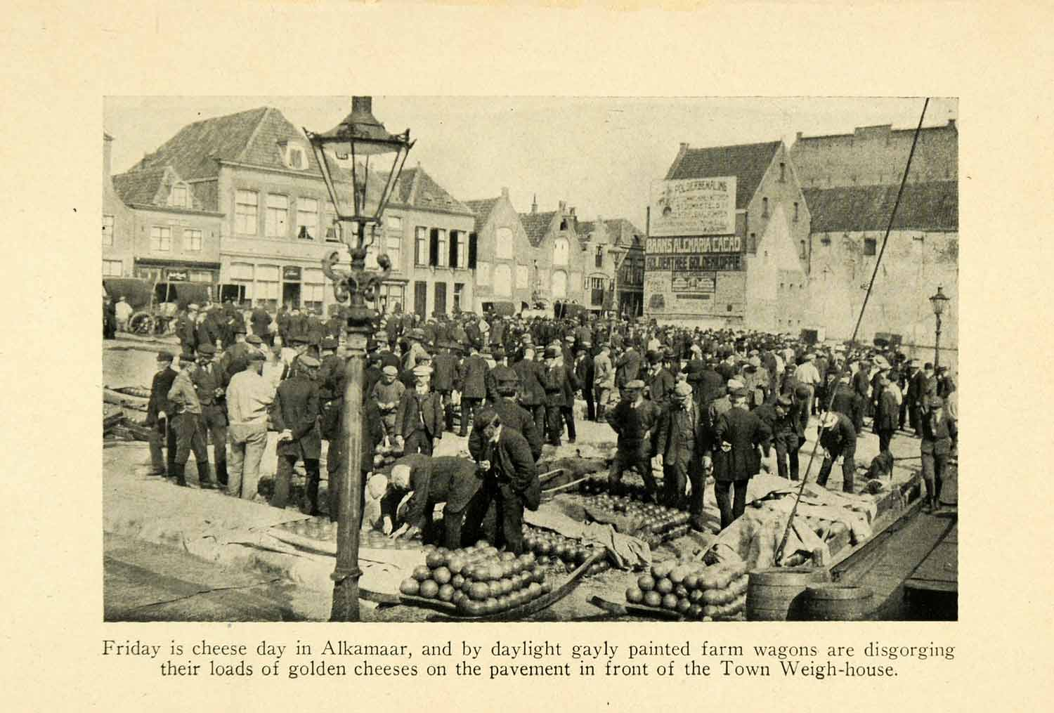 1928 Print Alkamaar Holland Cheese Market Weigh House Streetscape Historic XGJ6