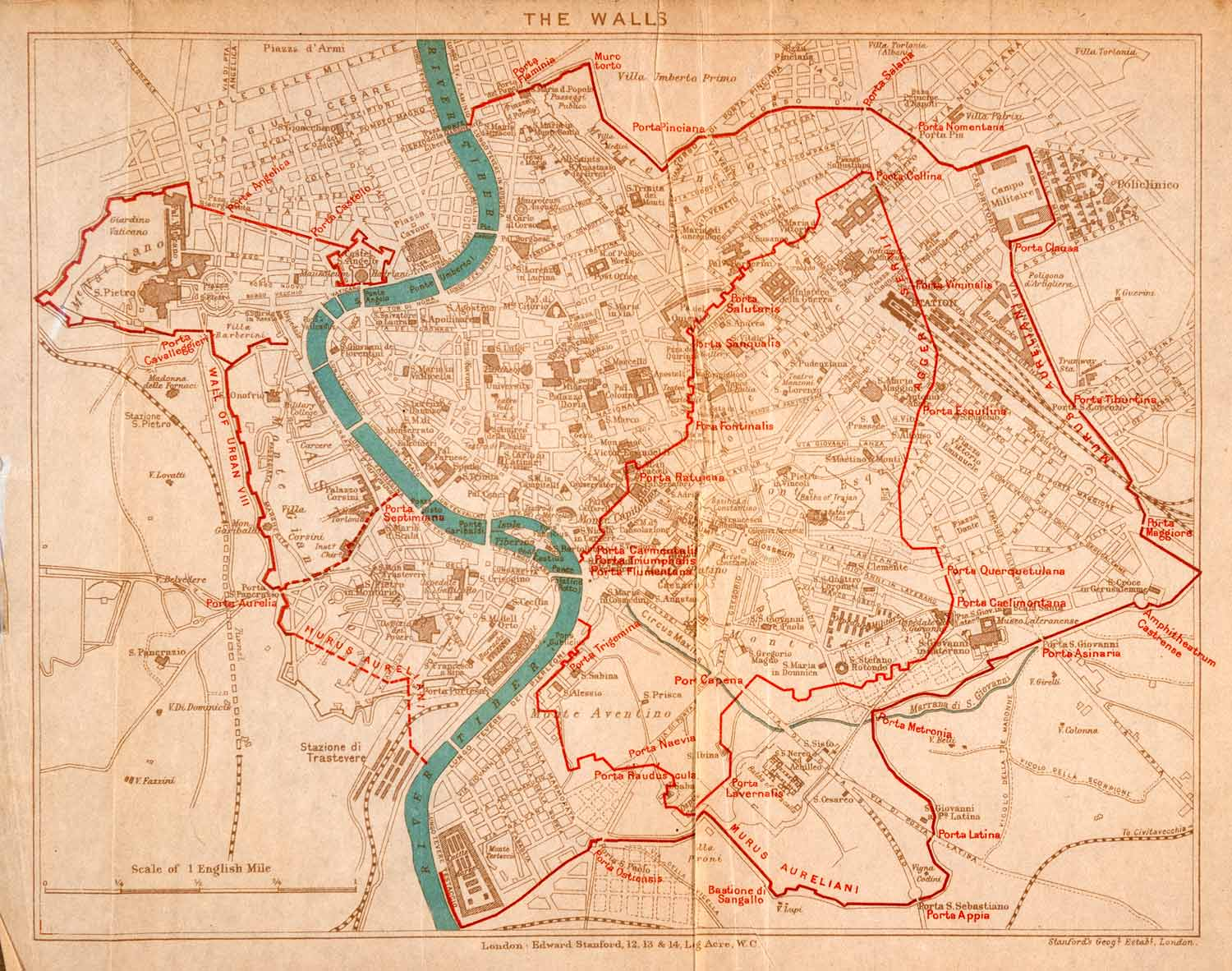 1908 Lithograph Map Plan Rome Italy Ancient City Walls Archaeology History Xgja5