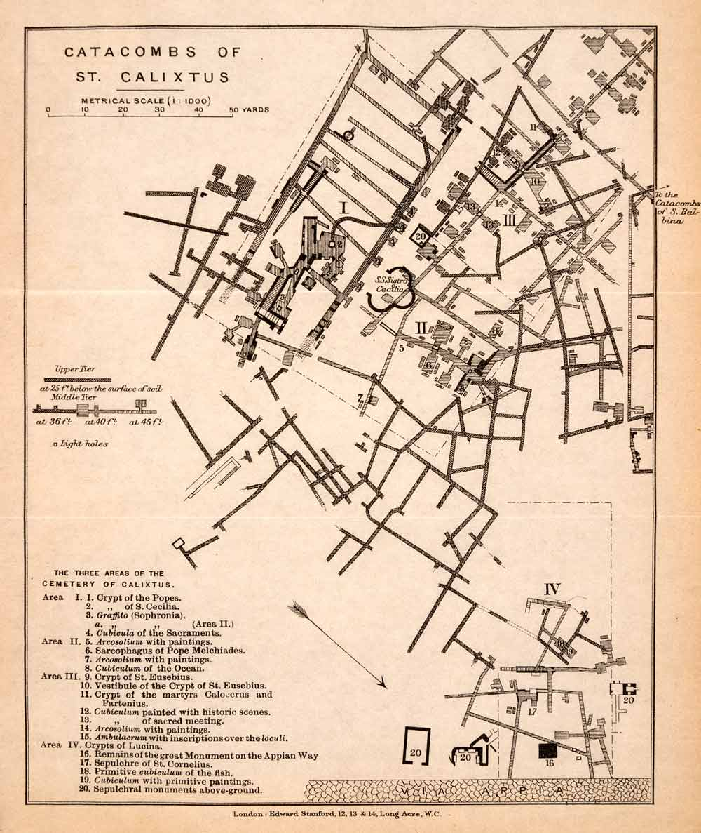 1908 Lithograph Catacombs St Callixtus Crypt Plan Diagram Italy Via on