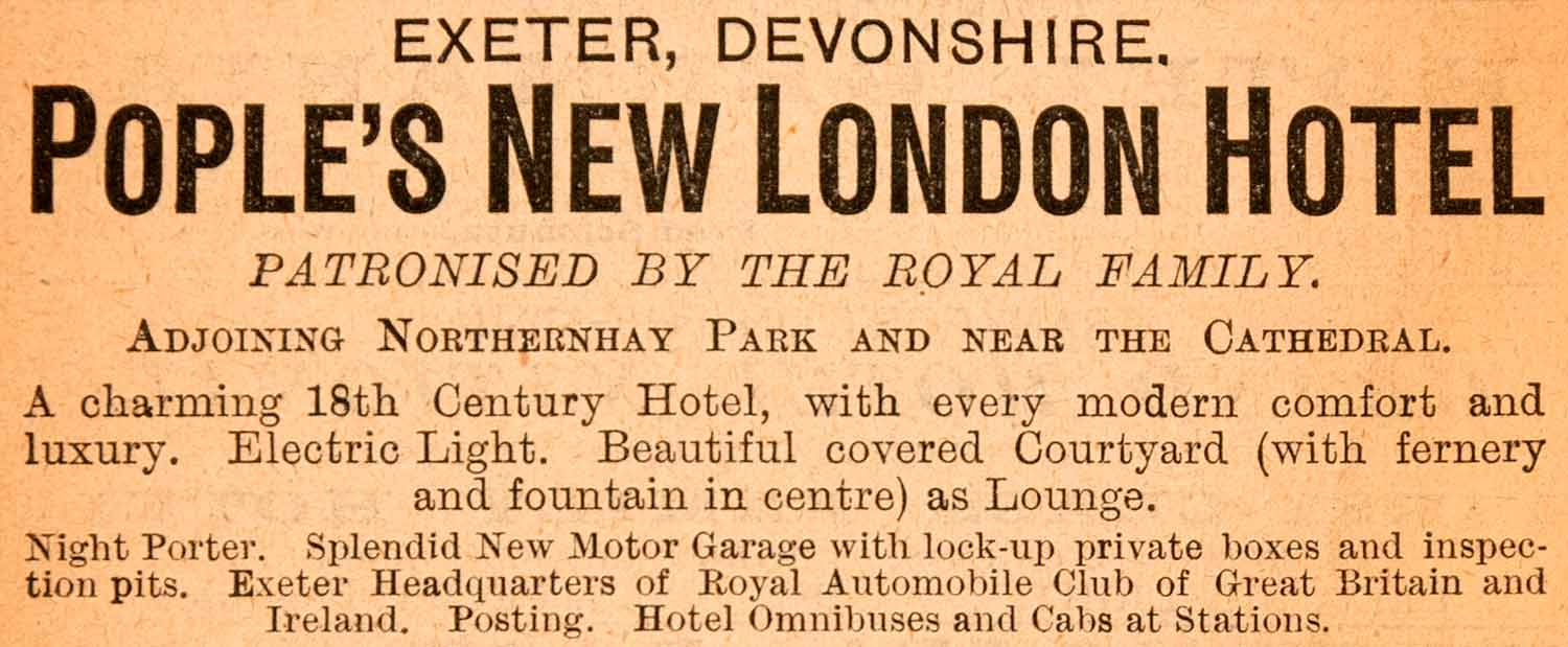 1908 advertising of the New London Hotel, Exeter [https://cdn.shopify.com]