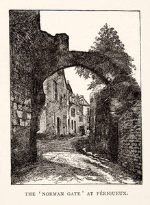 1894 Wood Engraving Norman Gate Périgueux France Dordogne Masonry XGJA8