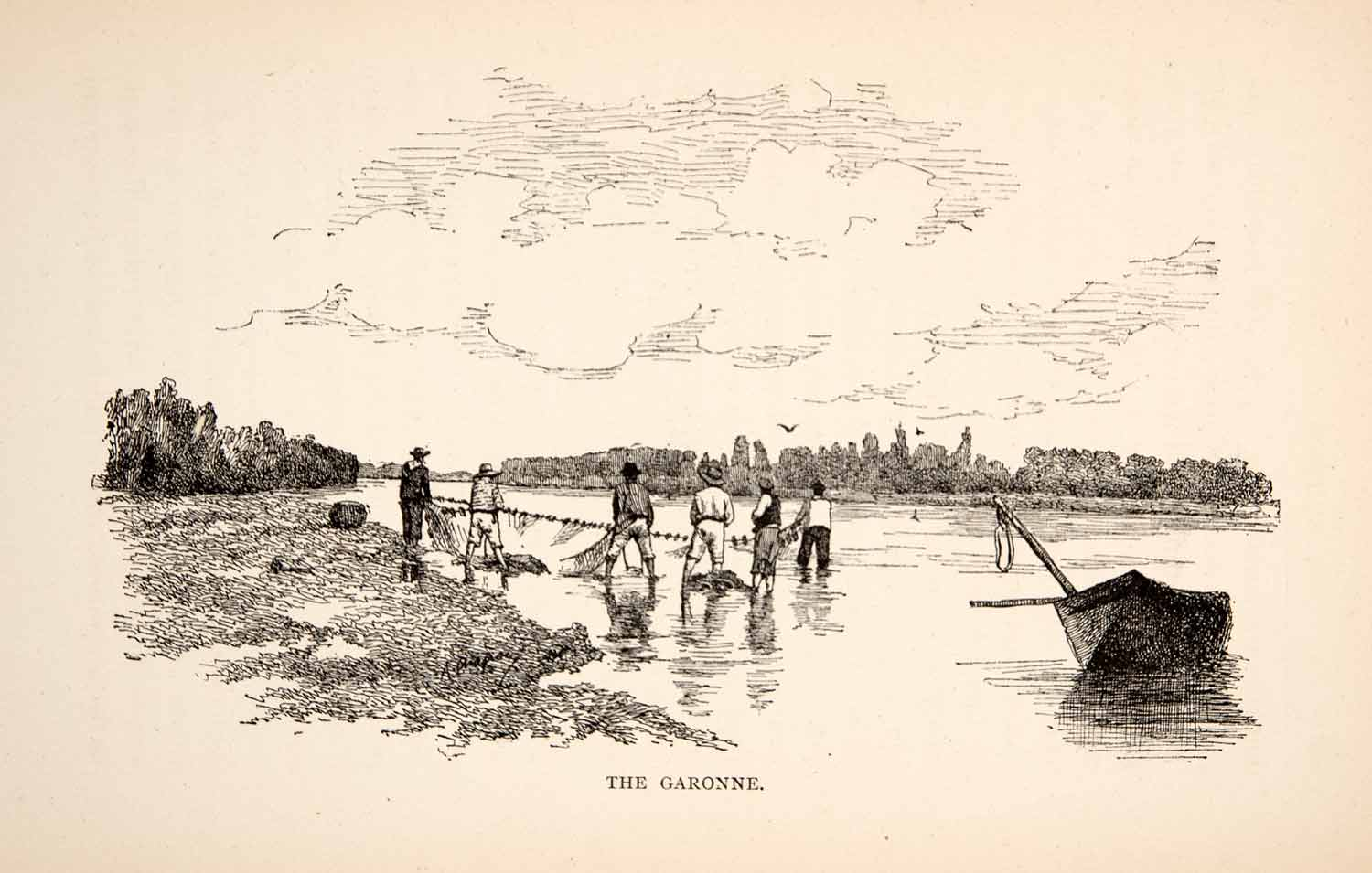 1894 Wood Engraving France Fishing Garonne River Art Net Boat Shore XGJA8