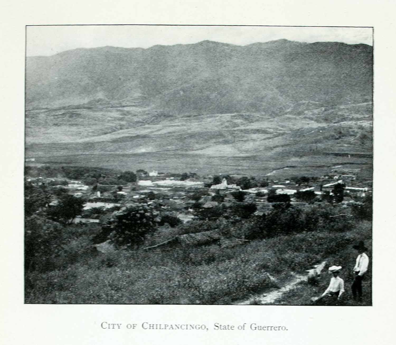 1907 Print Chilpancingo Guerrero Mexico Cityscape Mountains Valley XGJA9