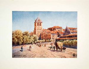 1906 Color Print Wigram Basilica Church San Isidoro Leon Spain Bell Tower XGJB3