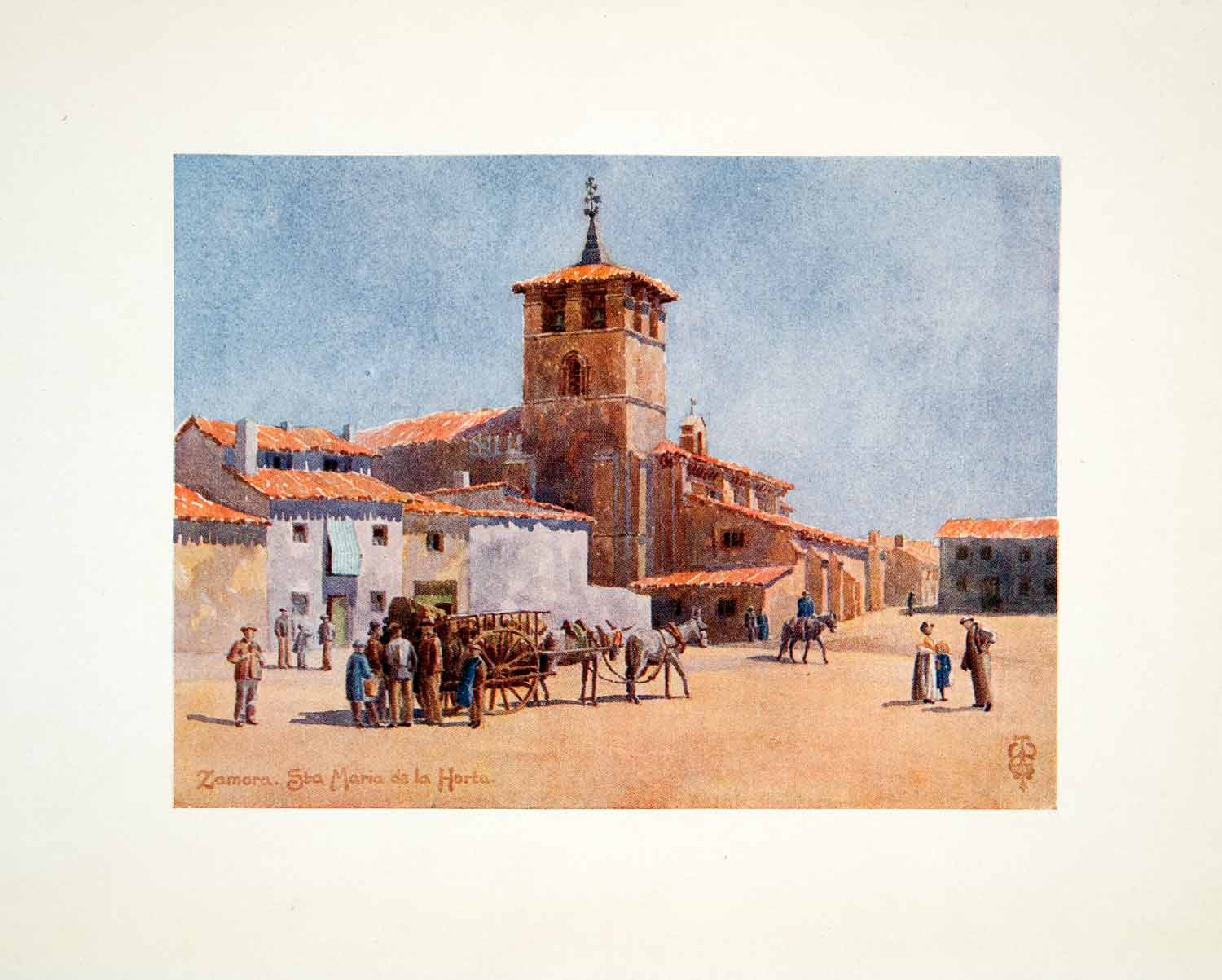 1906 Color Print Wigram Zamora Castile Leon Spain Church Santa Maria Horta XGJB3