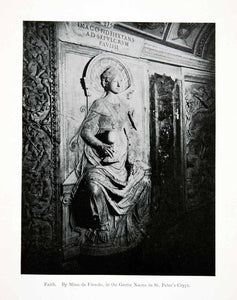 1907 Print Faith Bas Relief Mino Fiesole Grotte Nuove Saint Peter Crypt XGJB5