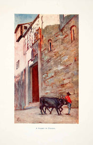 1905 Color Print Street in Toledo Spain Cityscape Indigenous People XGJB6
