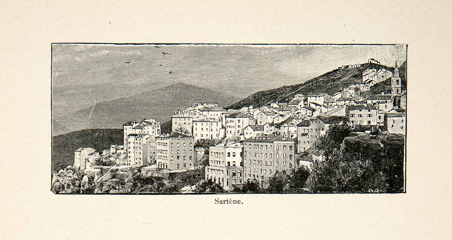 1896 Wood Engraving Gaston Vuillier Sartene Corsica Cityscape Mountain XGJB9