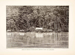 1892 Wood Engraving (Photoxylograph) American Mission Ogooue River Gabon XGJC1 - Period Paper