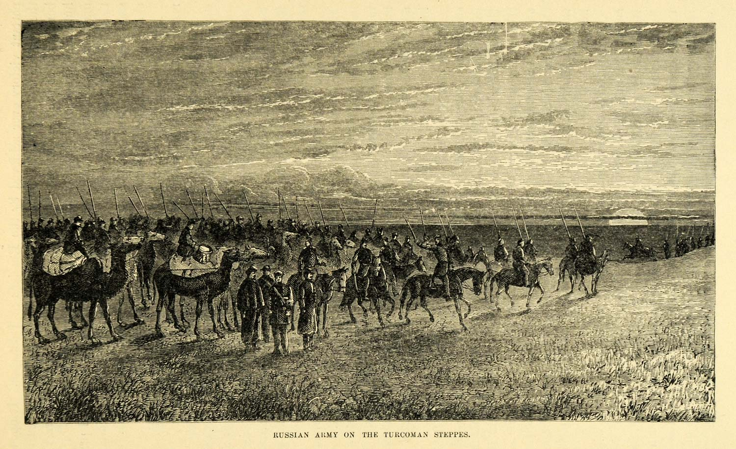 1905 Wood Engraving Art Russian Cavalry Army Military Turcoman Camels XGK2