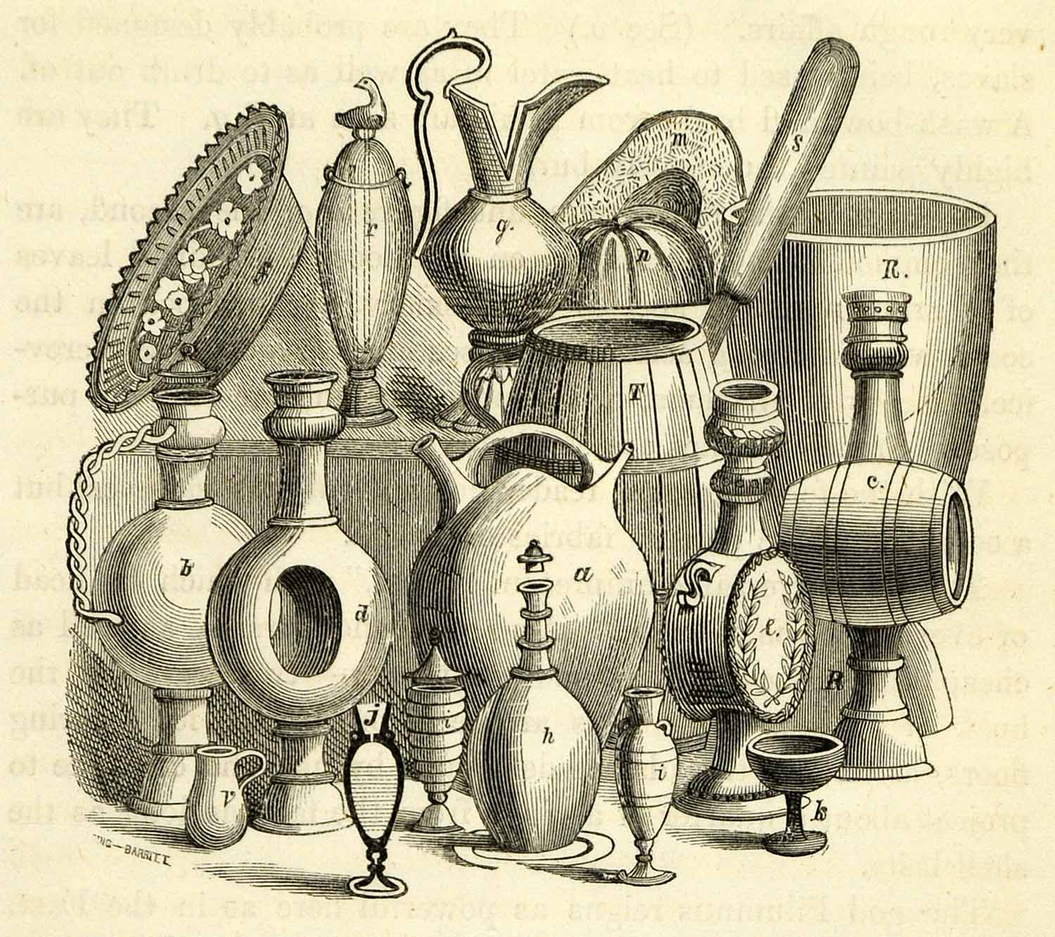 1856 Wood Engraving Talhas Moringues Clay Pot Pitcher Water Containers XGK9