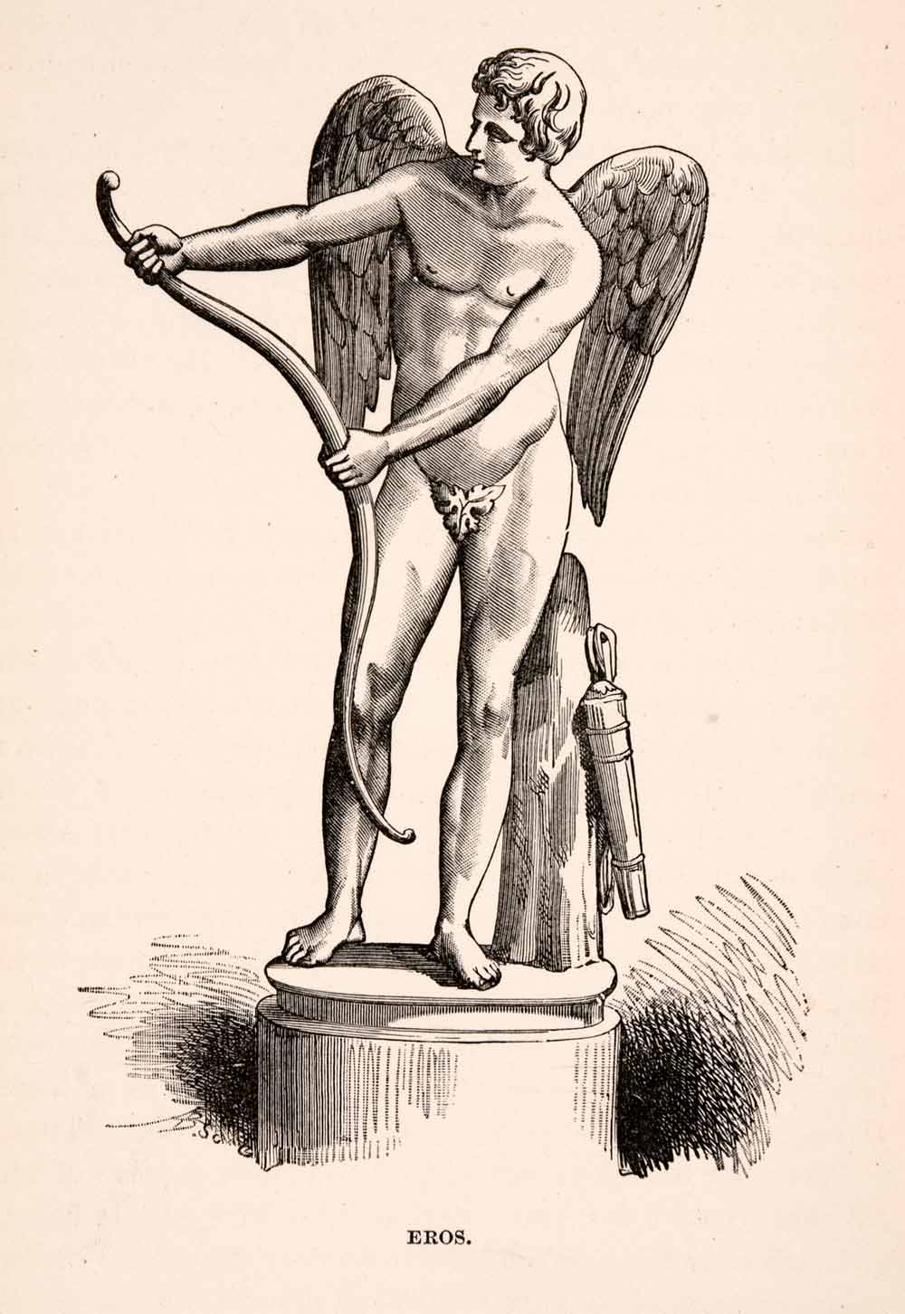 1896 Wood Engraving Eros Rome Italy Mythical Statue Sculpture Nude Bow XGKA1