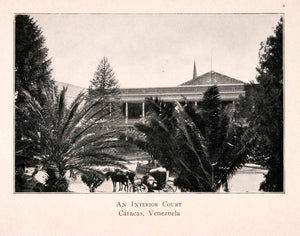1904 Halftone Print Caracas Venezuela Courtyard Palm Tree Horse Carriage XGKA3