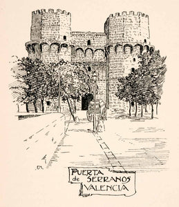 1905 Lithograph Valenica Spain Torres Puerta Serranos City Wall Tower XGKA4