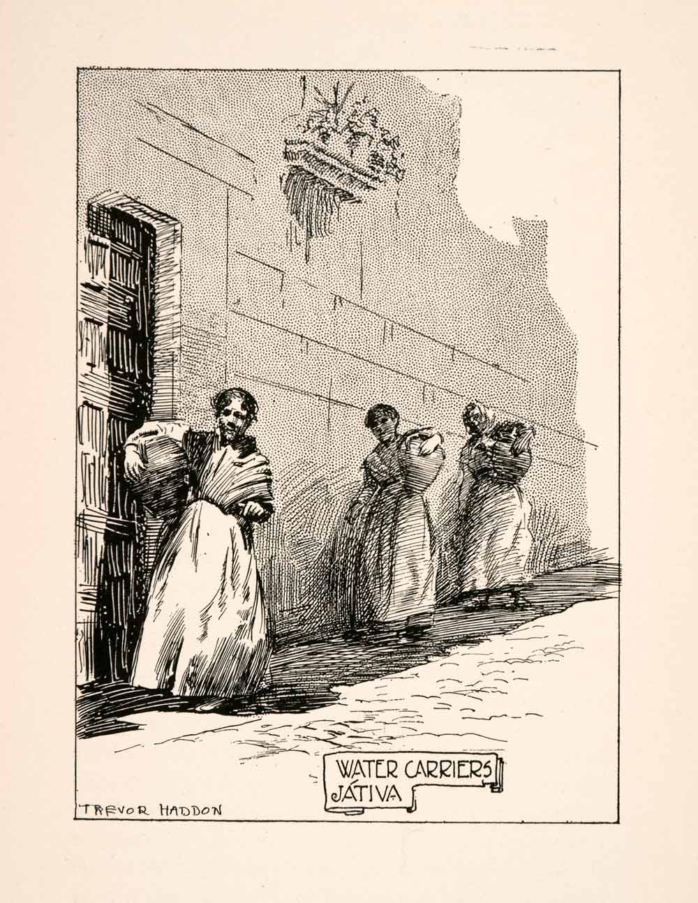 1905 Lithograph Jativa Xativa Spain Water Carrier Women Trevor Haddon XGKA4