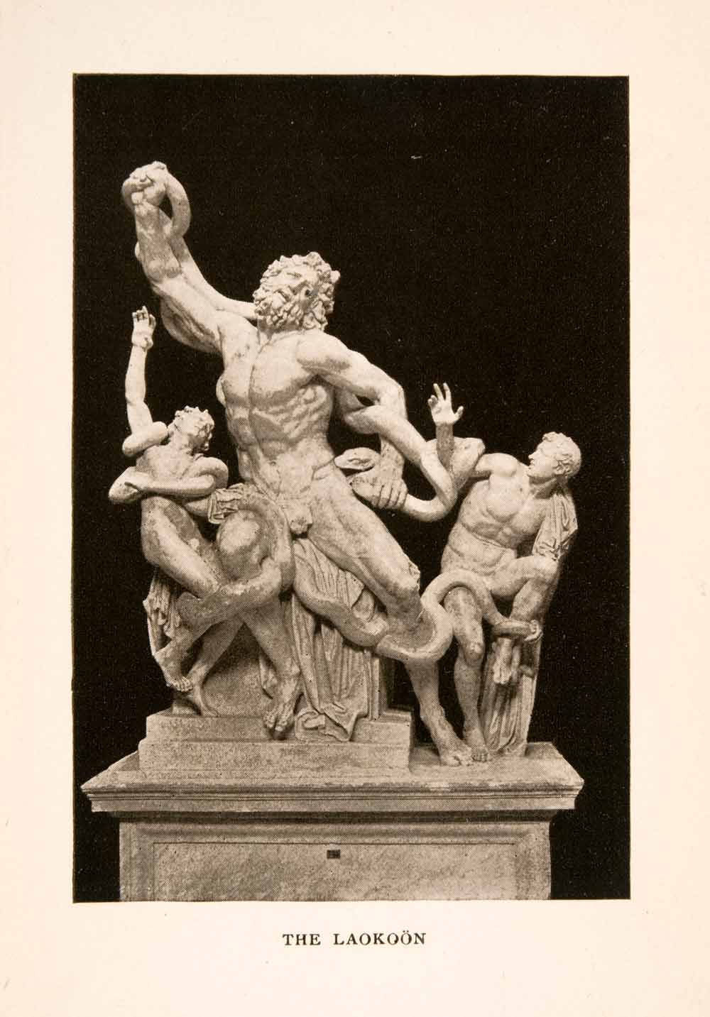 1905 Photolithograph Greek Sculpture Art Laocoön Mythology Trojan XGKA6