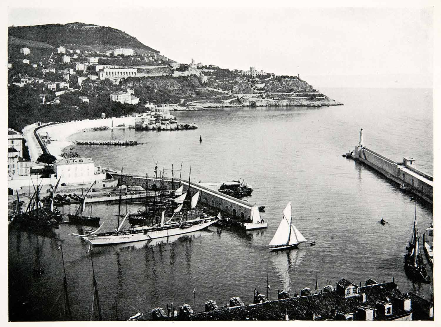 1902 Print Nice Port Lympia Harbor French Riviera Cote Dazure XGKB3