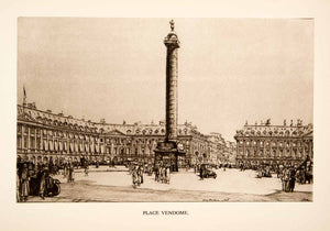 1926 Photolithograph Henry Rushbury Art Place Vendome Paris City Square XGKB4