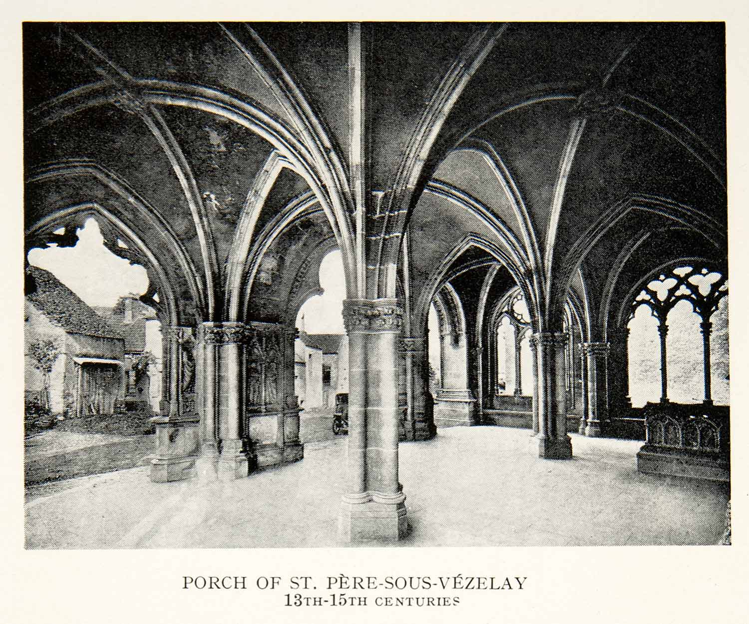 1927 Print Saint Pere Sous Vezelay Yonne Burgundy France Porch Church XGKC9