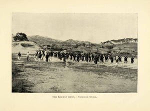 1898 Print Korean Army Military Skirmish Drill Historic Armed Forces XGL7