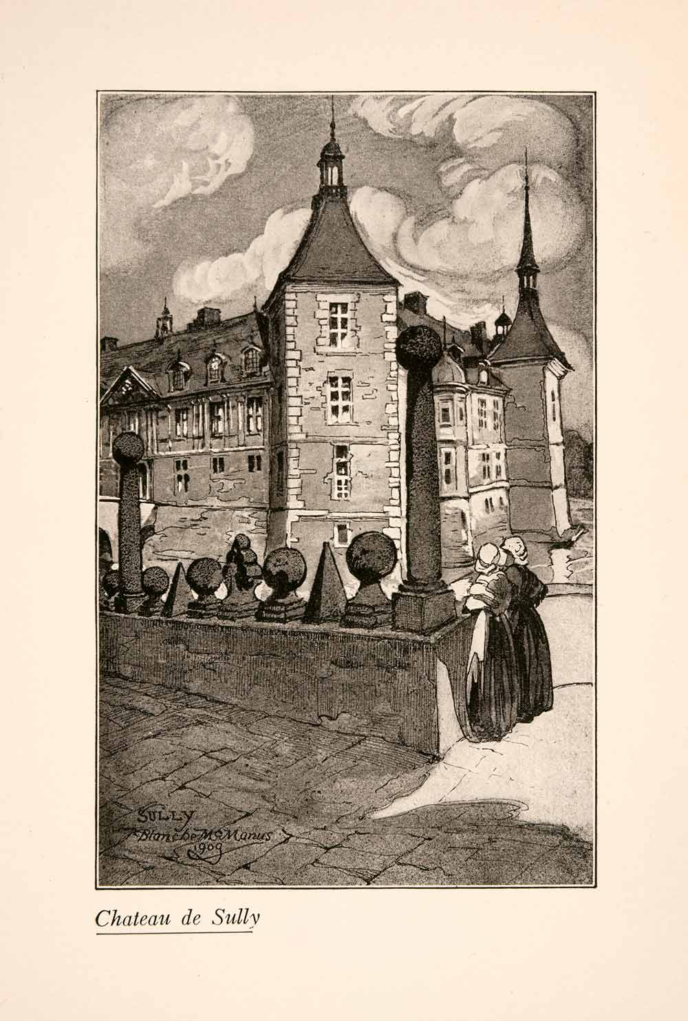 1929 Print Blanche McManus Chateau Sully France Architecture Historic XGLA1