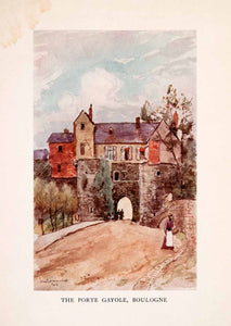 1907 Color Print Porte Gayole Boulogne-sur-Mer Herbert Menzies Marshall XGLA2 - Period Paper