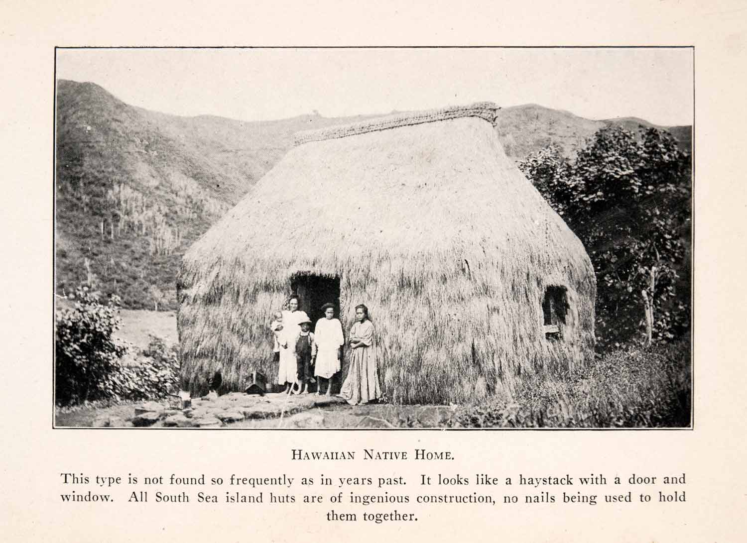 1926 Halftone Print Hawaii Native Home Hay South Sea Grass Hut Island XGLA4