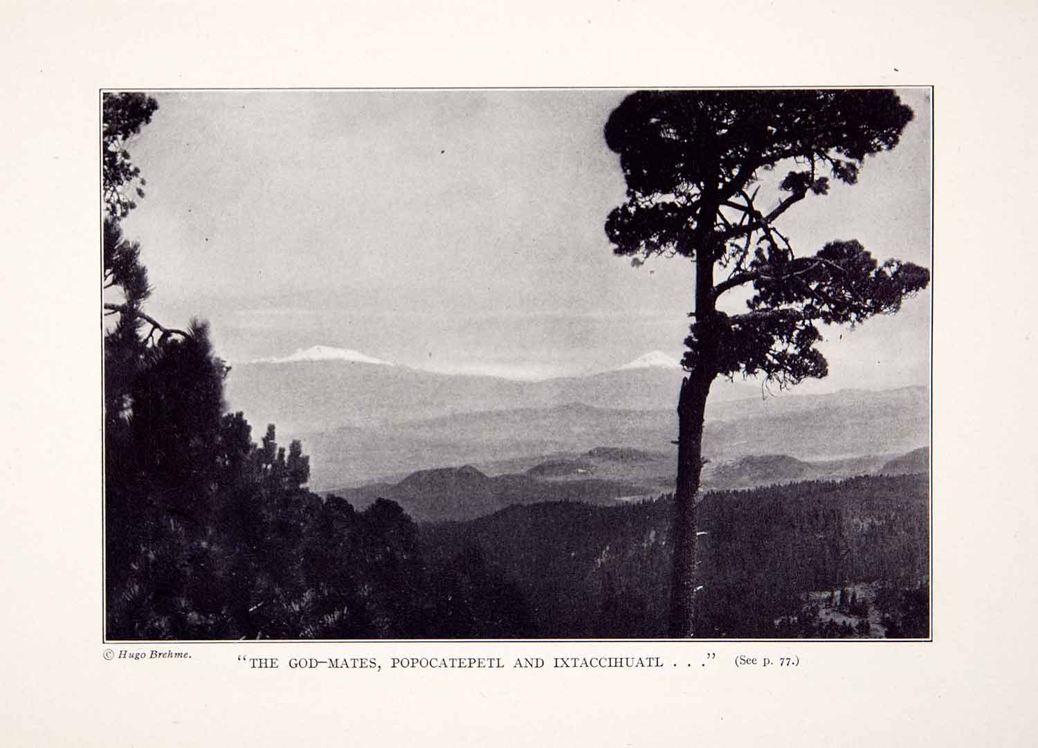 1928 Print Mexico Landscape Mountain Valley Volcanos Popocatepetl XGLA6
