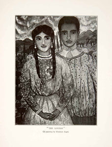 1928 Print Mexico Portrait Lovers Couple Man Woman Formal Partners Abraham XGLA6