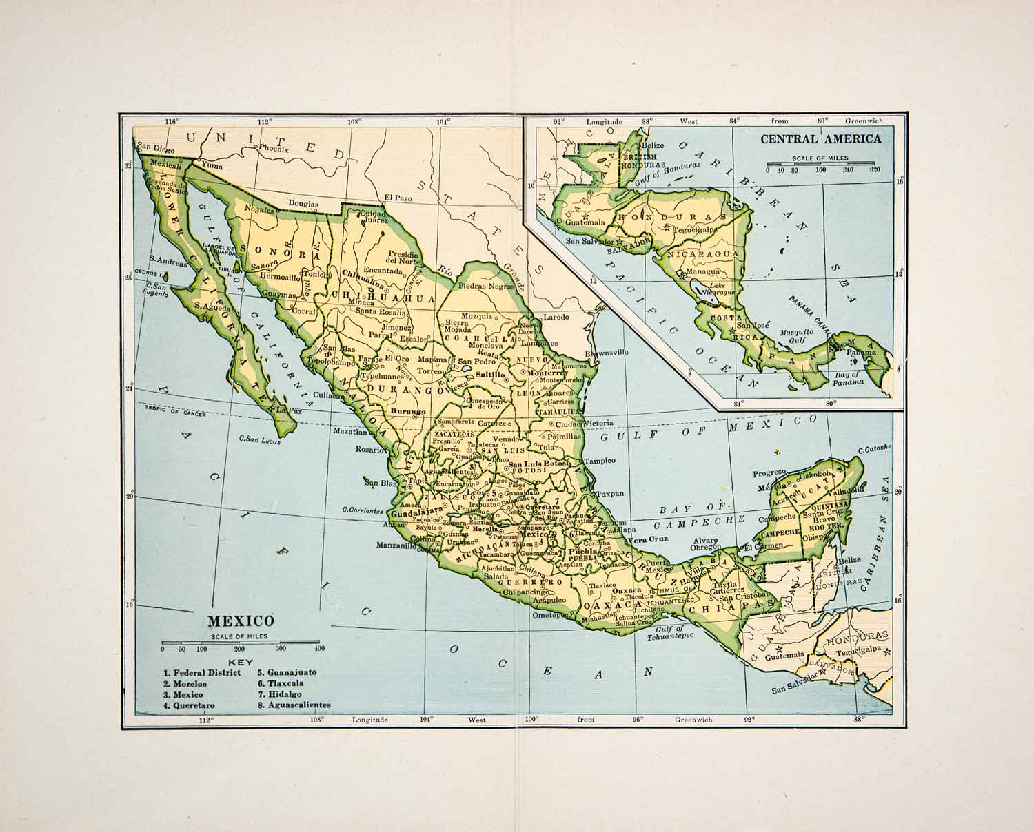 1928 lithograph mexico map pacific ocean central america country gulf xgla6