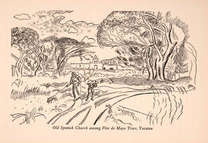 1929 Wood Engraving Spanish Church Flor de Mayo Trees Yucatan Mexico Pig XGLA9