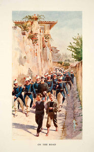 1907 Color Print On Road Soldiers Boys Marching William Parkinson Walls XGLB1
