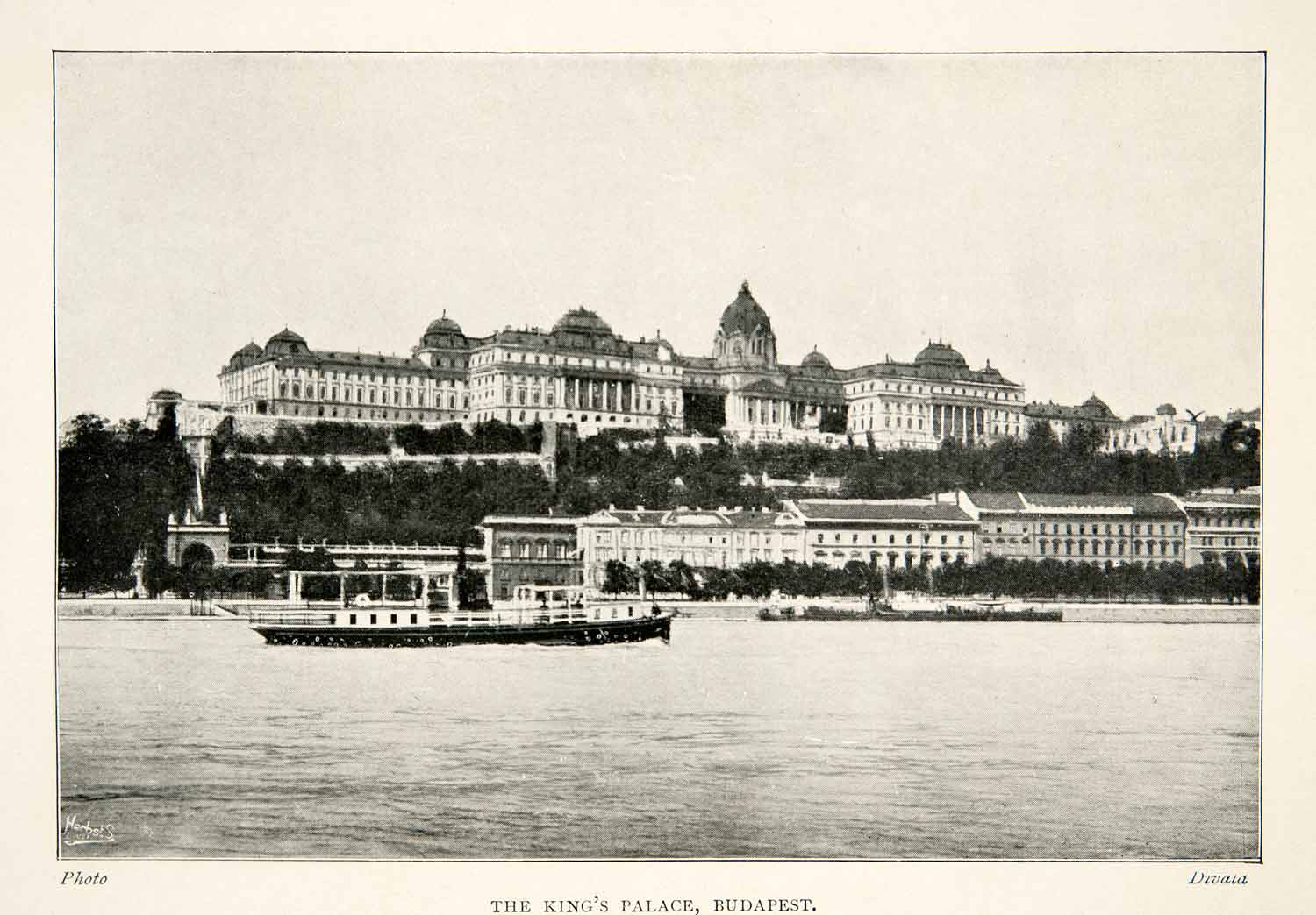 1909 Print Budapest Hungary Royal King Palace Castle Danube River Historic XGLB2