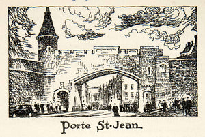 1947 Lithograph Porte St. Jean Quebec Canada Rampart Fortifications XGLB5