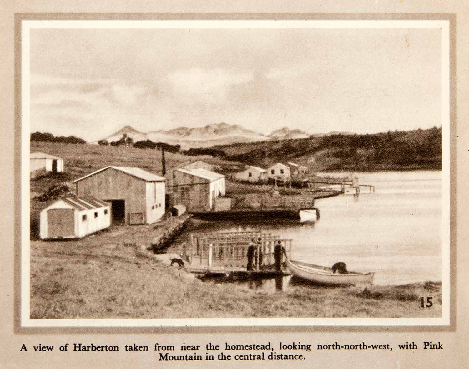1950 Photogravure Harberton Harbor Pink Mountain Chile Cabo Hornos XGLB6