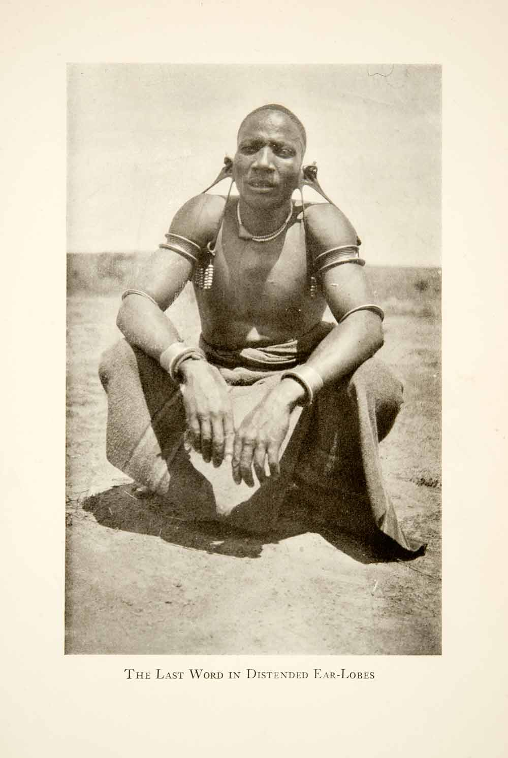 1929 Print Africa Native Tribesman Earlobe Distention Stretching Costume XGLB8