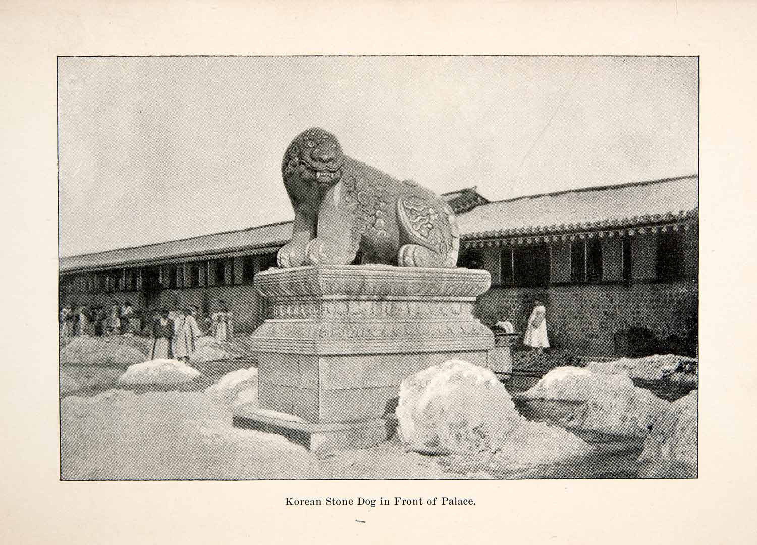 1892 Print Seoul Korean Palace Stone Dog Sculpture Statue Oriental Asian XGLC6 - Period Paper