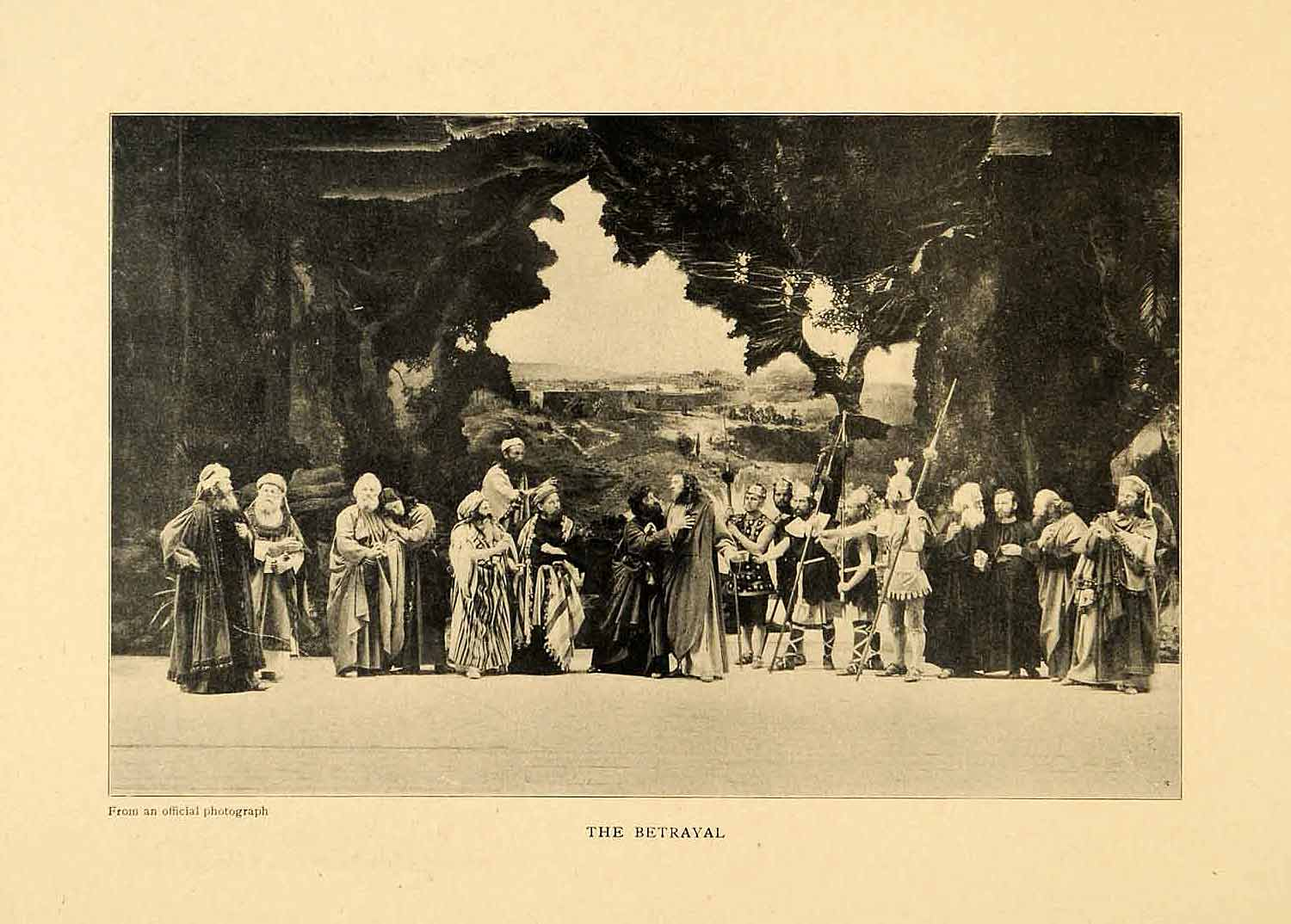 1903 Print Betrayal Passion Play Oberammergau Germany Jesus Stage Actor XGM1