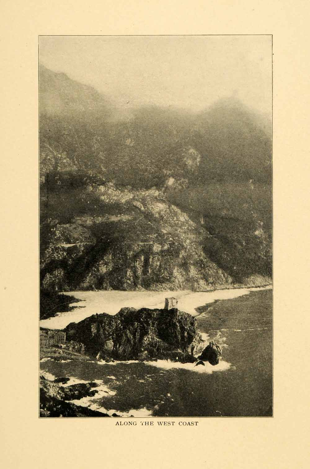 1903 Print West Coast Corsica France Island Geology Mediterranean Sea XGM1