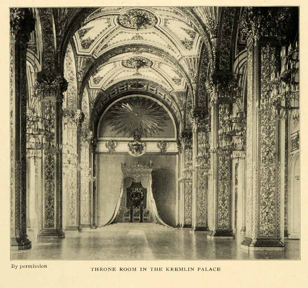 1903 Print Throne Room Kremlin Palace Architecture Moscow Russia Royalty XGM1